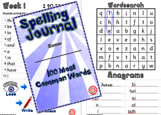 Spelling Journal 100 common words spelling